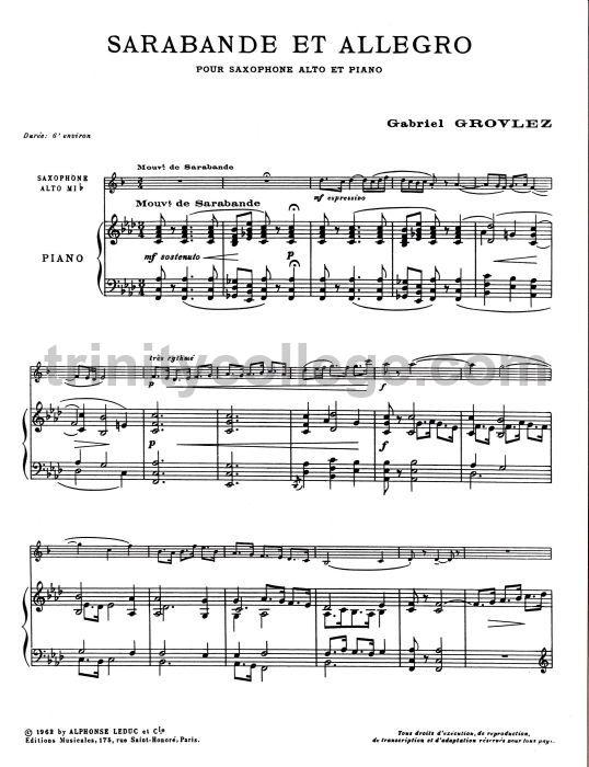 GROVLEZ SARABANDE /& ALLEGRO Alto /& Piano